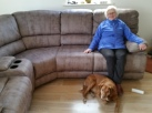 Mam tests out the new sofa she helped assemble